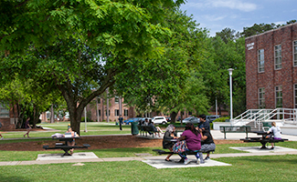 Students Outside on Benches